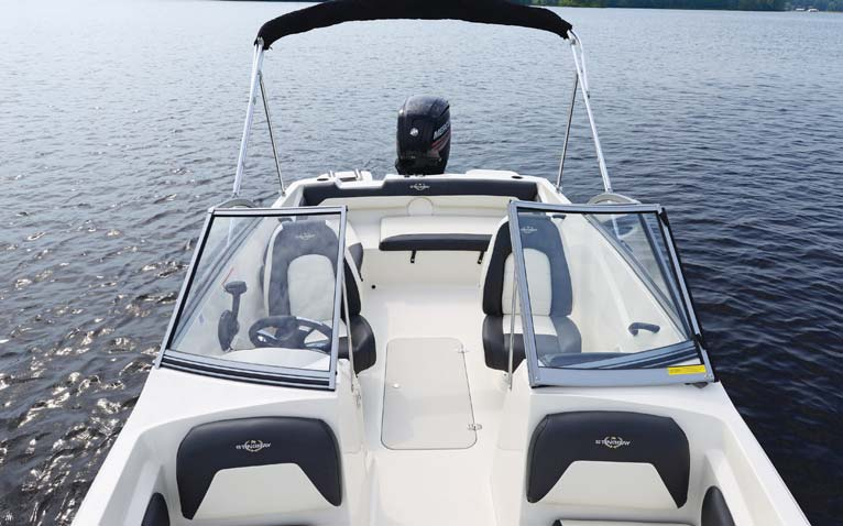 """The 191 DC carries her 7' 6"""" beam far forward for a very spacious cockpit layout."""