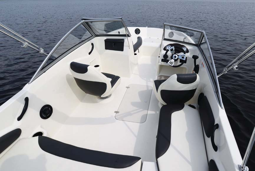 The large in-floor storage compartment is great for wet gear and wakeboards or skiis.