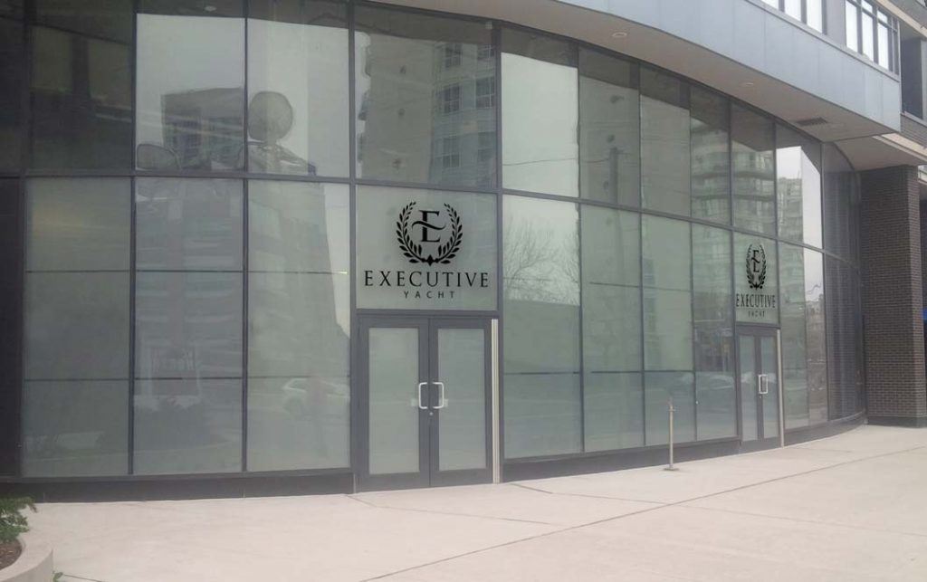 Executive Yacht's new head office location at 438 Lakeshore Blvd, W. in downtown Toronto as viewed from the Lakeshore.