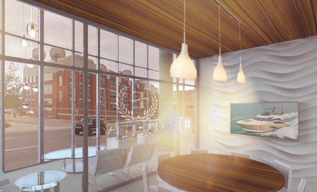 Artists rendering of the interior of the new location showing a meeting room in the foreground and the lobby in the background.