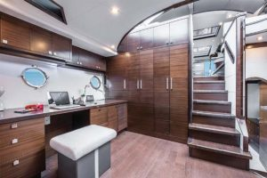 The optional lower office can be replaced with a third stateroom if the owner so chooses.
